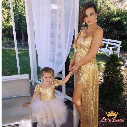 Ekskluzywne sukienki MAMA& CÓRKA cekiny złote – mama