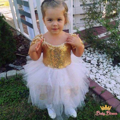 Ekskluzywne sukienki MAMA& CÓRKA cekiny złote – córka